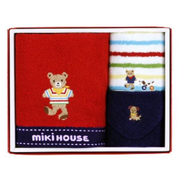 ミキハウス ハンド&ミニタオル 2Pセット 赤
