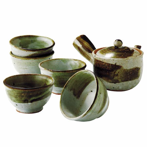 信楽焼 緑釉流し 茶器揃
