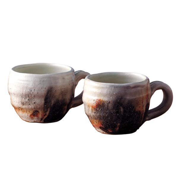 信楽焼 粉引窯変  ペアマグカップ