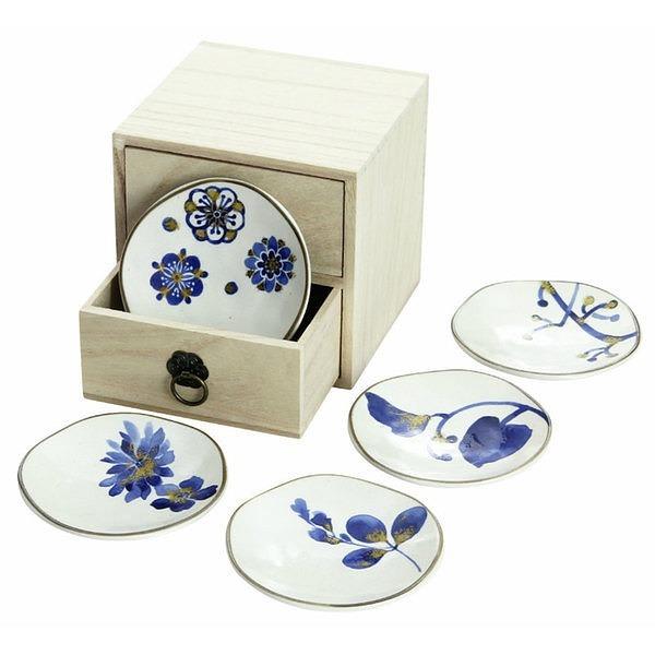 藍華 小皿揃 (引出し木箱)
