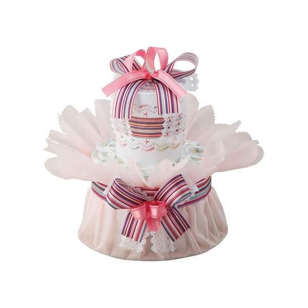 おむつdeケーキ 一段 ピンク
