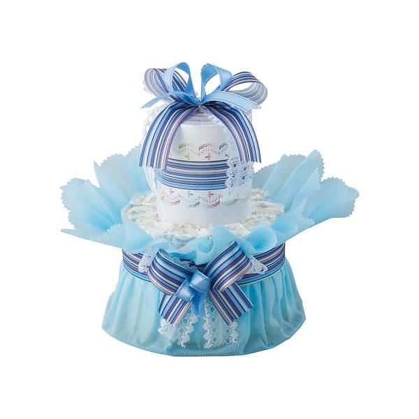 おむつdeケーキ 一段 ブルー