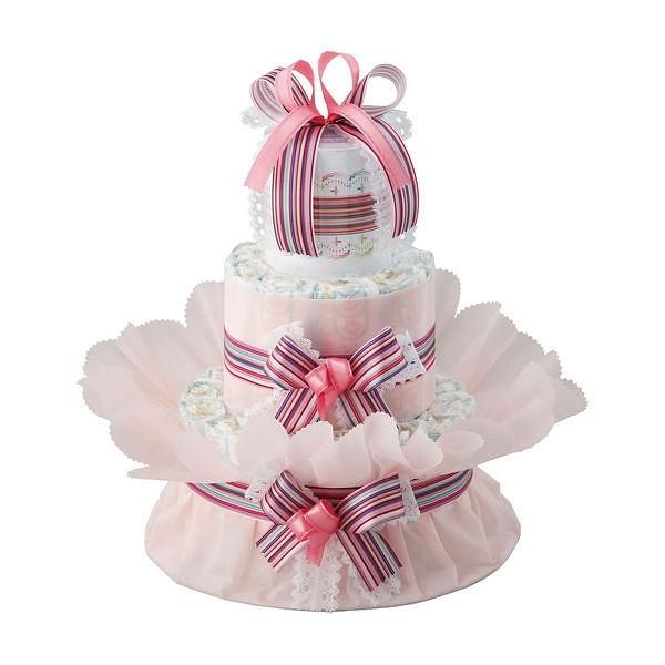 おむつdeケーキ 二段 ピンク