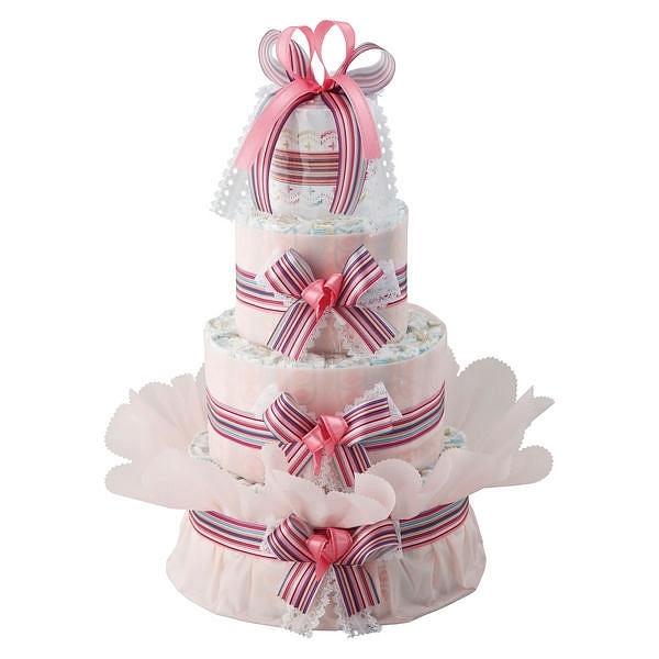 おむつdeケーキ 三段 ピンク