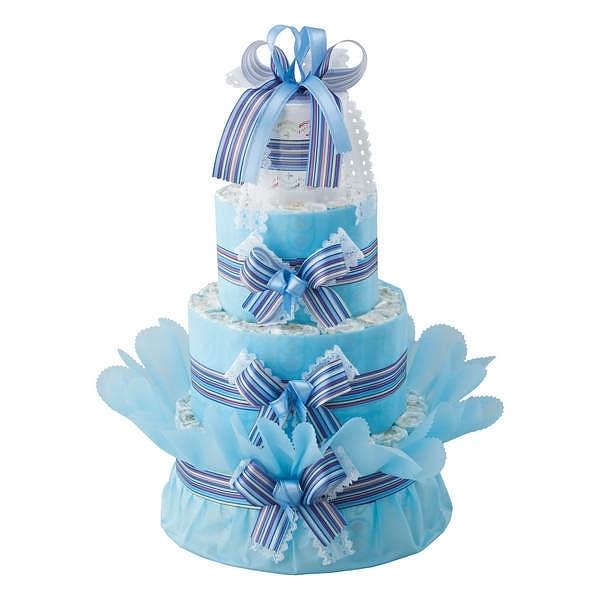 おむつdeケーキ 三段 ブルー