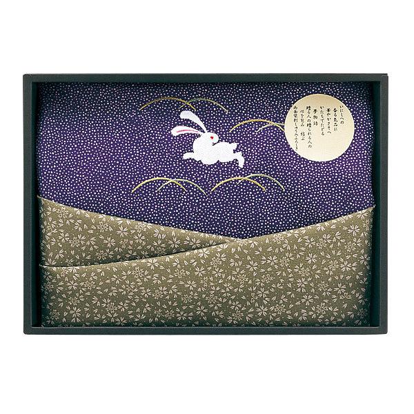 二巾刺繍入両面染 ふろしき1P 紫/緑