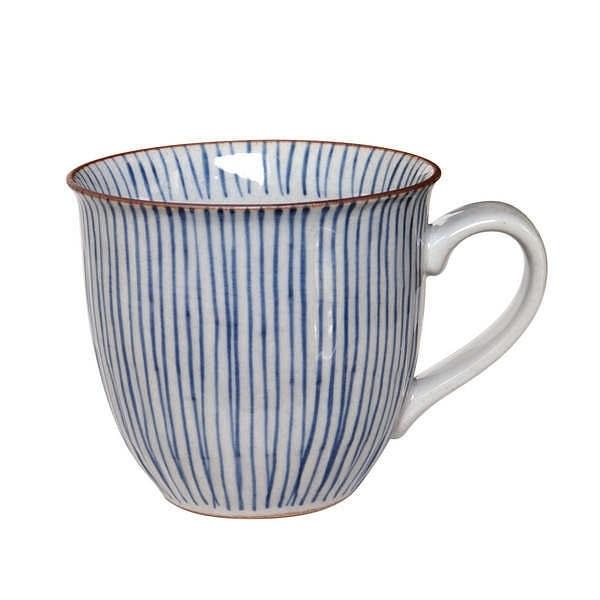 鐡山 千筋 たっぷりマグカップ 青