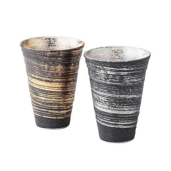 陶悦窯 金銀刷毛 反型ペアビアカップ