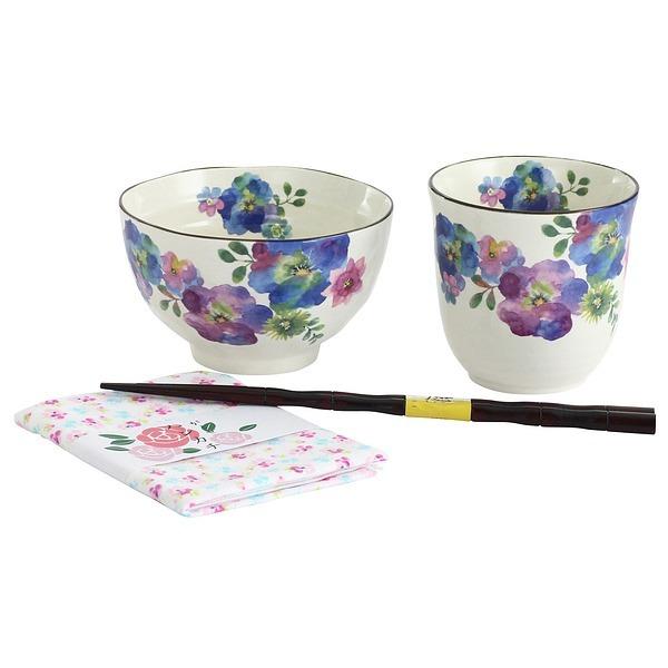 花まどか 飯碗湯呑セット (ハンカチ付)