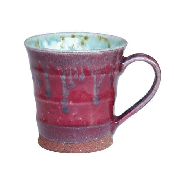 瑞幸 色釉花 マグカップ 赤