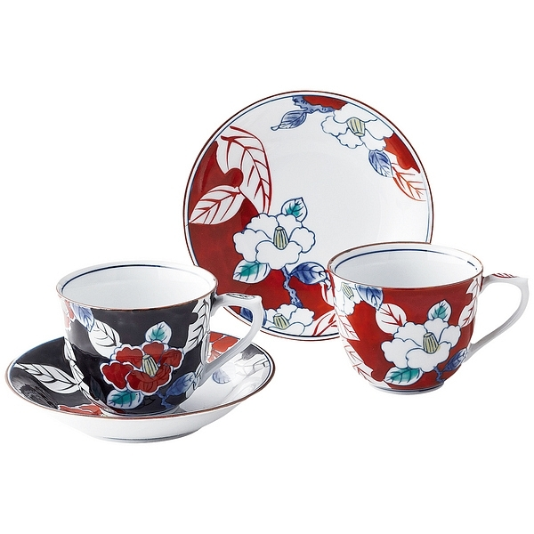 色彩山茶花 ペアコーヒー碗皿