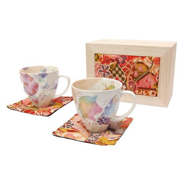 花つみ ペアマグカップセット (ちりめん木箱)