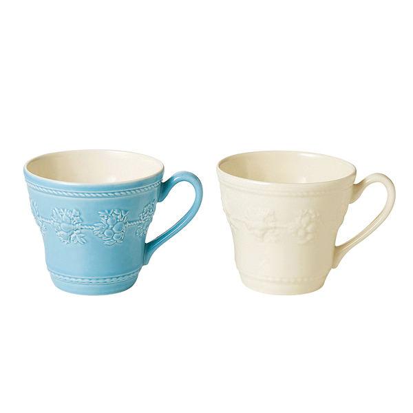 ウェッジウッド クイーンズウェア コレクション フェスティビティ ペアマグカップ ブルー&アイボリー