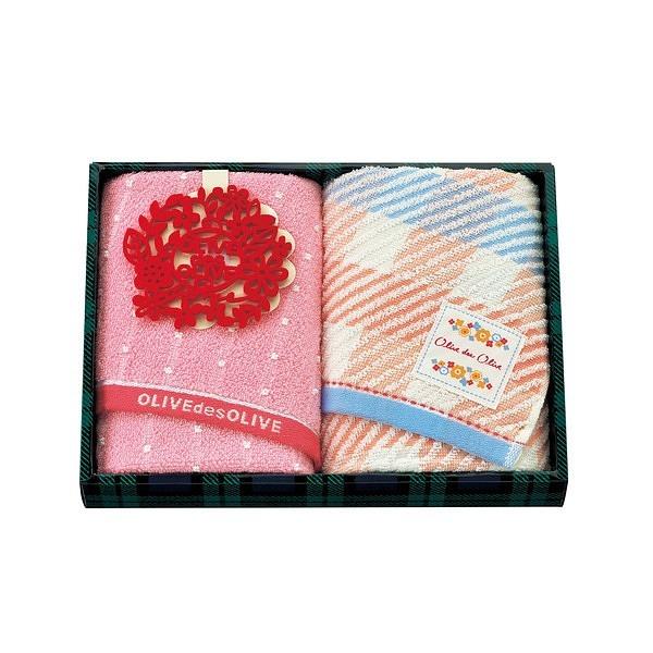 オリーブ デ オリーブ ホーム サボン フェイスタオル 2枚セット ピンク OD1095
