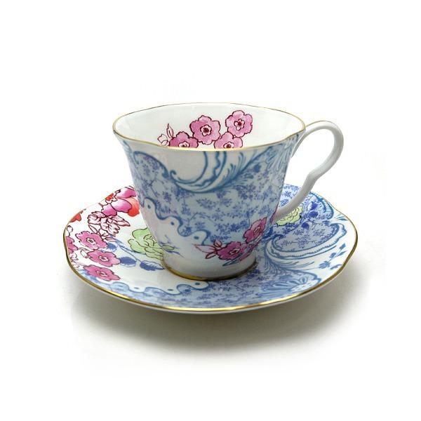 ウェッジウッド ハーレクイン コレクション バタフライブルーム ティーカップ&ソーサー ブルー&ピンク