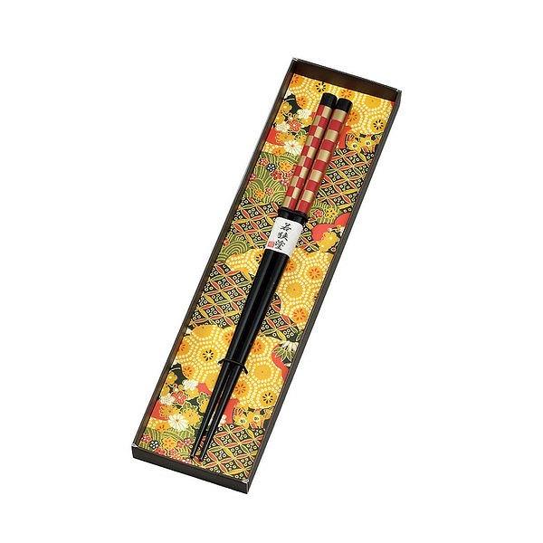市松模様 箸 朱