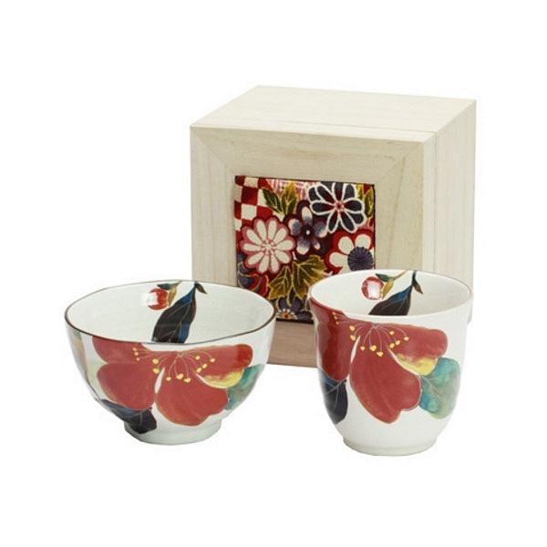 花かいろう 飯碗湯呑 山茶花 (ちりめん木箱)