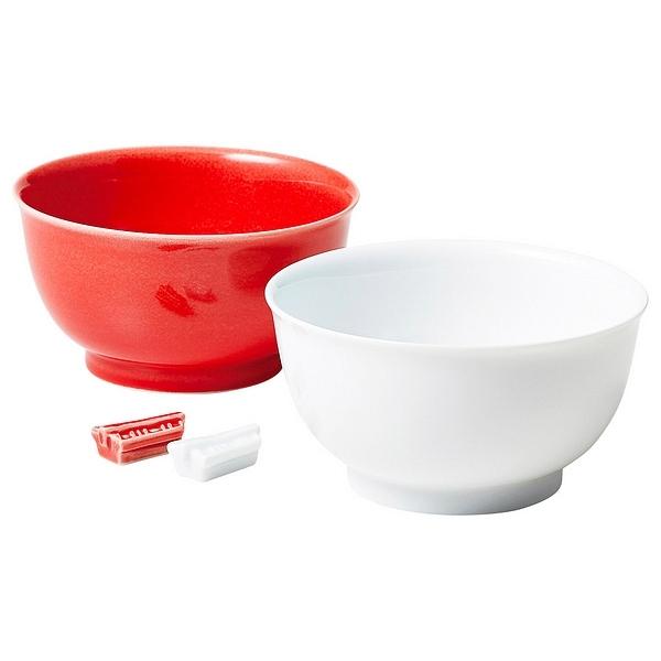 ミヤマ 紅白あたり飯碗揃 箸置付
