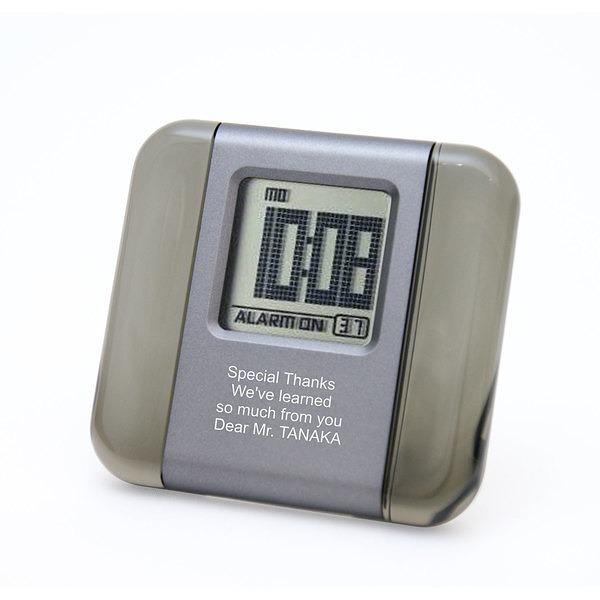 カラーアクリル LCD クロック グレー