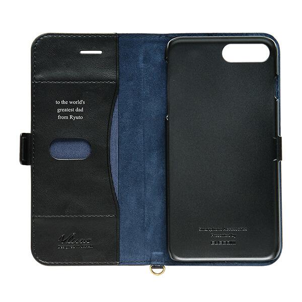 iPhone 8/7 Plus ソフトレザーカバー サイドフラップ ブラック