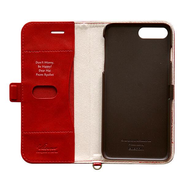 iPhone 8/7 Plus ソフトレザーカバー サイドフラップ レッド