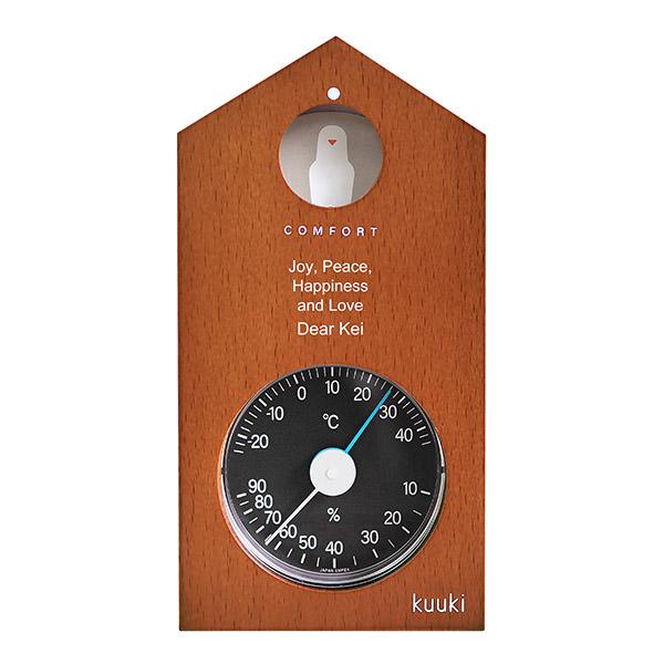 ハト温湿度計 ブラウン