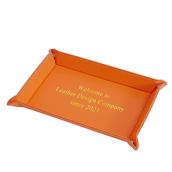 レザーボタントレイ レクタングル オレンジ